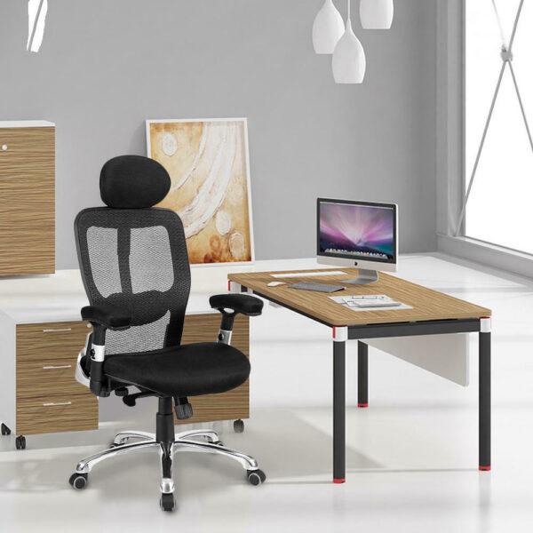 Merax Modern Business Office Mesh Chair Rotating Lift Chair Ergonomic Design Desk Chair Swivel Folding Chair for Home and Office