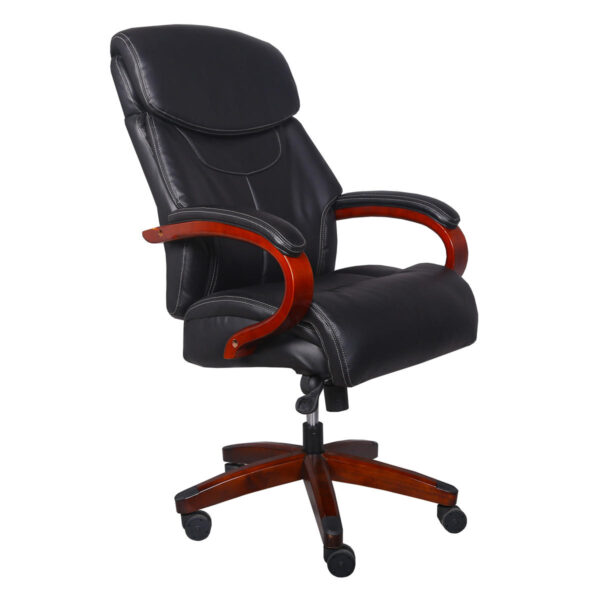 Ergonomic Office Chair High Back Executive Swivel Chair PU Leather Folding Chair with Wood Arms