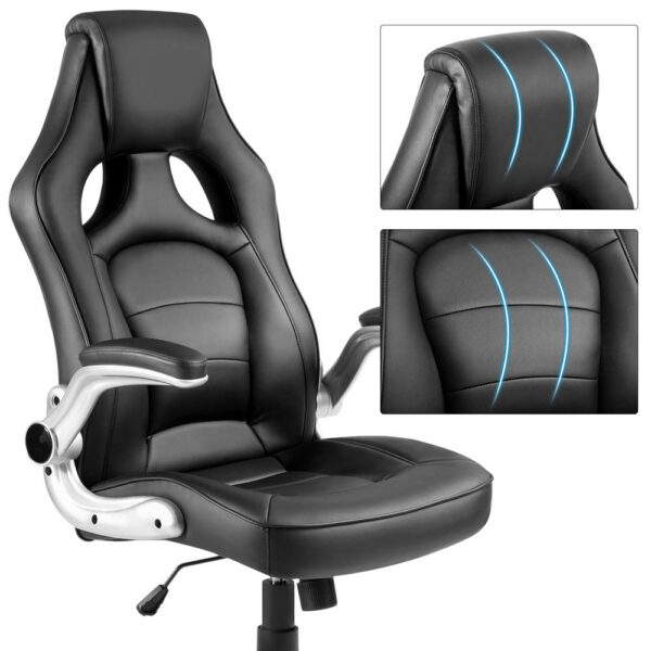 ModernLuxe Office Chair Racing Style Ergonomic Gaming Chair PU Leather High Back Swivel Computer Chair Folding Chair