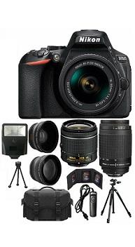 Nikon D5600 Black DSLR Camera W 18-55mm VR + 70-300mm + 32GB Top Value Bundle